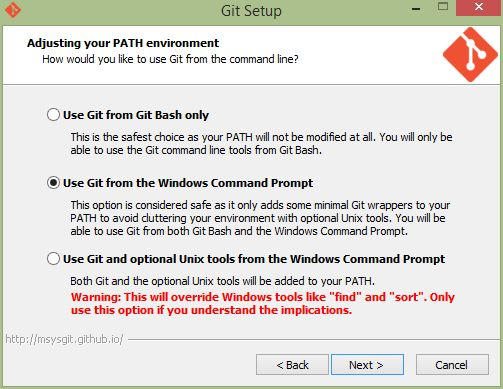 Git Installer PATH step