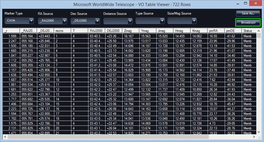 Screen shot of VO Table Viewer
