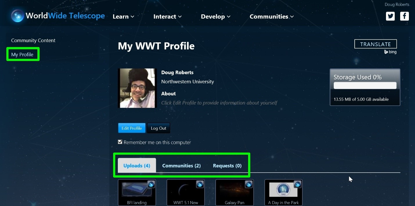 Community Profile Page